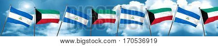 nicaragua flag with Kuwait flag, 3D rendering