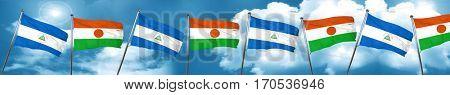 nicaragua flag with Niger flag, 3D rendering