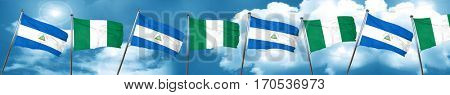 nicaragua flag with Nigeria flag, 3D rendering