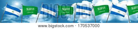 nicaragua flag with Saudi Arabia flag, 3D rendering