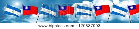 nicaragua flag with Taiwan flag, 3D rendering