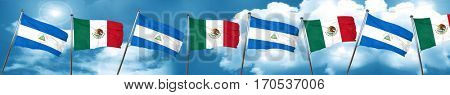 nicaragua flag with Mexico flag, 3D rendering