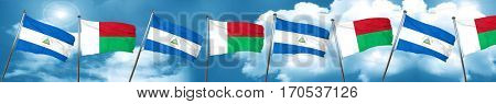 nicaragua flag with Madagascar flag, 3D rendering