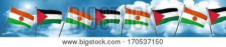 niger flag with Palestine flag, 3D rendering