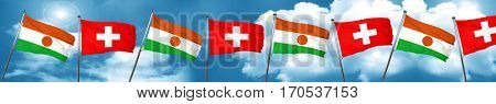 niger flag with Switzerland flag, 3D rendering