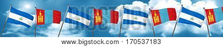 nicaragua flag with Mongolia flag, 3D rendering