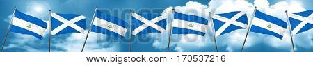 nicaragua flag with Scotland flag, 3D rendering