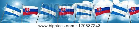 nicaragua flag with Slovakia flag, 3D rendering