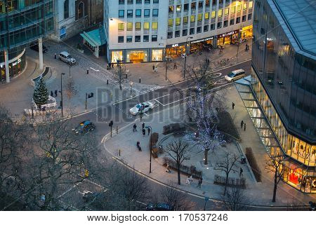 London, UK - December 19, 2016:  City of London road junction at night. View from the top of St. Paul cathedral