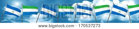 nicaragua flag with Sierra Leone flag, 3D rendering