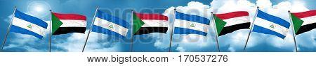 nicaragua flag with Sudan flag, 3D rendering