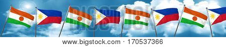 niger flag with Philippines flag, 3D rendering