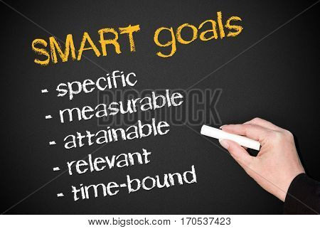 SMART goals - female hand writing text on blackboard