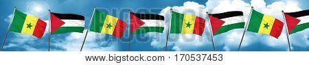 Senegal flag with Palestine flag, 3D rendering
