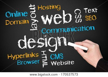 Web Design - internet business concept with hand and text