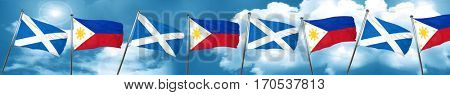 scotland flag with Philippines flag, 3D rendering