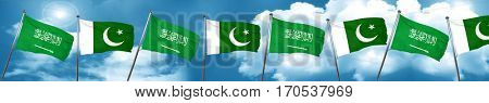 Saudi Arabia flag with Pakistan flag, 3D rendering