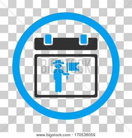 National Holiday Day rounded icon. Vector bicolor illustration style is a flat iconic symbol inside a circle blue and gray colors transparent background. Designed for web and software interfaces.