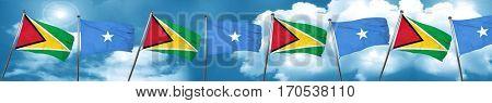 Guyana flag with Somalia flag, 3D rendering