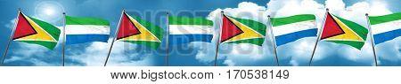 Guyana flag with Sierra Leone flag, 3D rendering