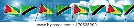 Guyana flag with Tanzania flag, 3D rendering