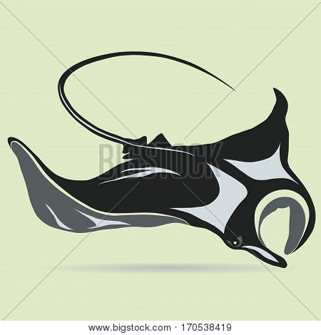 Stingray logo fish mascot in cartoon style, cramp-fish outline. Vector