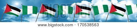 palestine flag with Nigeria flag, 3D rendering