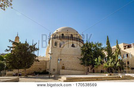 The Hurva Synagogue in Jewish quarter Old City of Jerusalem in Israel