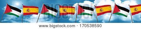 palestine flag with Spain flag, 3D rendering