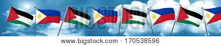 palestine flag with Philippines flag, 3D rendering