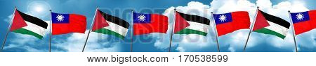 palestine flag with Taiwan flag, 3D rendering