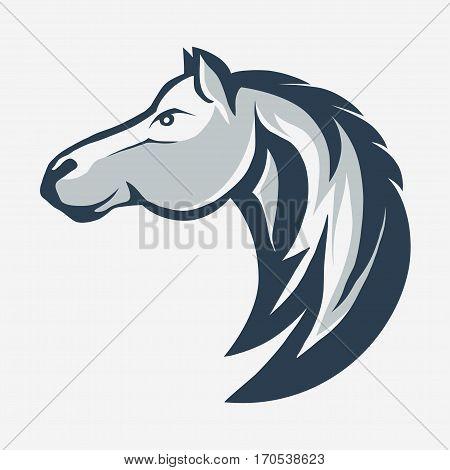 Horse head profile design, animal graphic logo template. Horse head silhouette outline emblem. vector