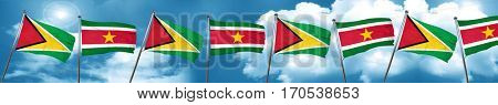 Guyana flag with Suriname flag, 3D rendering
