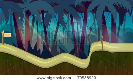 cartoon jungle landscape, unending background with separated layers for game. 2d game application. Illustration for your application , project.