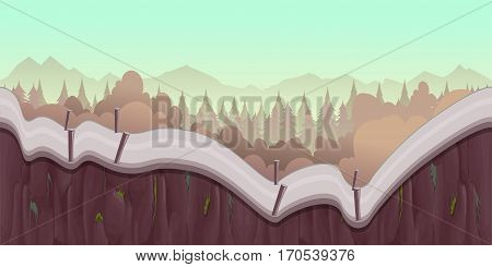 Cartoon forest landscape, endless nature background for computer games. Nature tree, outdoor plant green, natural environment wood illustration, Illustration for your application , project.