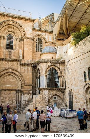 JERUSALEM ISRAEL - OCTOBER 3: The Church of the Holy Sepulchre the Chapel of the Franks in the Old City of Jerusalem Israel on October 3 2016