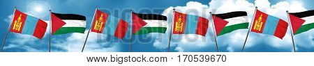 Mongolia flag with Palestine flag, 3D rendering