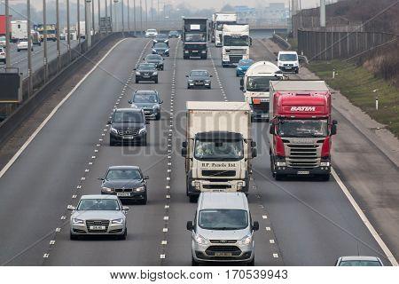 London UK - February 6 2017: Afternoon traffic on the British motorway M1