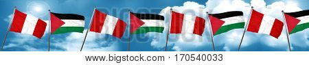 Peru flag with Palestine flag, 3D rendering