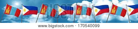 Mongolia flag with Philippines flag, 3D rendering