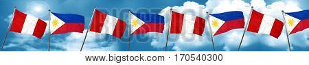 Peru flag with Philippines flag, 3D rendering