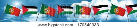 Portugal flag with Palestine flag, 3D rendering