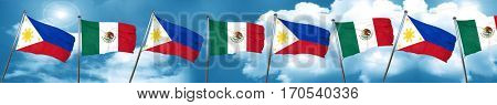 Philippines flag with Mexico flag, 3D rendering