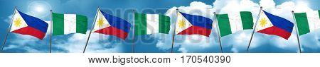 Philippines flag with Nigeria flag, 3D rendering