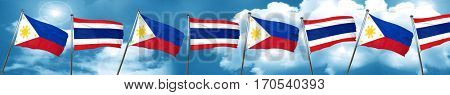 Philippines flag with Thailand flag, 3D rendering