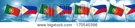 Portugal flag with Philippines flag, 3D rendering