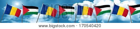 Romania flag with Palestine flag, 3D rendering