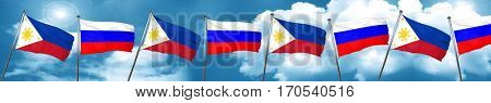 Philippines flag with Russia flag, 3D rendering