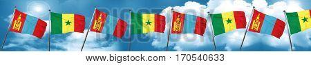 Mongolia flag with Senegal flag, 3D rendering