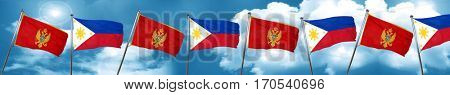 Montenegro flag with Philippines flag, 3D rendering